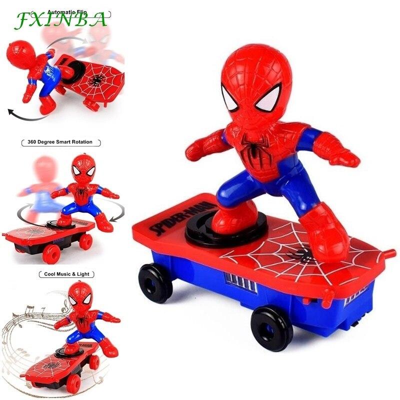 FXINBA New Spider Man Stunt Scooter Automatic Flip Music Flash Light Electric Skateboard Stunt Car Kids Novelty Electronic Toys