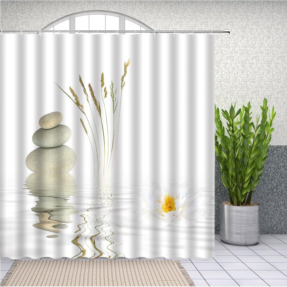 Cortina de ducha de piedras y Loto Blanco para baño, tela de poliéster Extra larga impermeable para decoración de bañera, SPA Zen, blanco