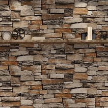 vinyl block stone brick modern wallpaper 3d feature blue purple brown black and white geometric wall paper living room office 3D 3D Rustic Brick Wallpaper Stereoscopic Modern Design Roll Pearly Rustic Forest Woods Bedroom Living Room Wall Paper Home 10 x