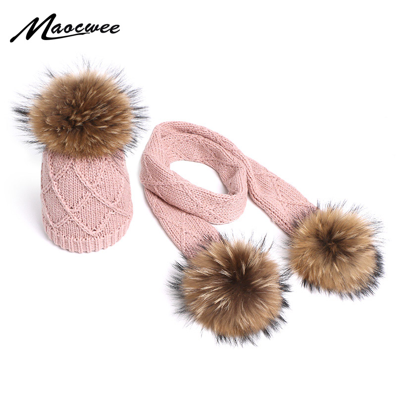 Winter Scarf Beanie Hat Set Two Pieces Children Knit Thick Windproof Warm Beanies With Pompon Skiing Snow Outdoor Hats Child