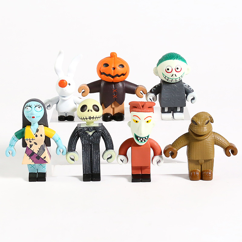 The Nightmare Before Christmas Jack Skellington Sally Lock Barrel Oogie Boogie Mini PVC Figures Toys 7pcs/set