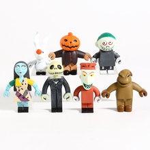 O pesadelo antes do natal jack skellington sally bloqueio barril oogie boogie mini pvc figuras brinquedos 7 pçs/set