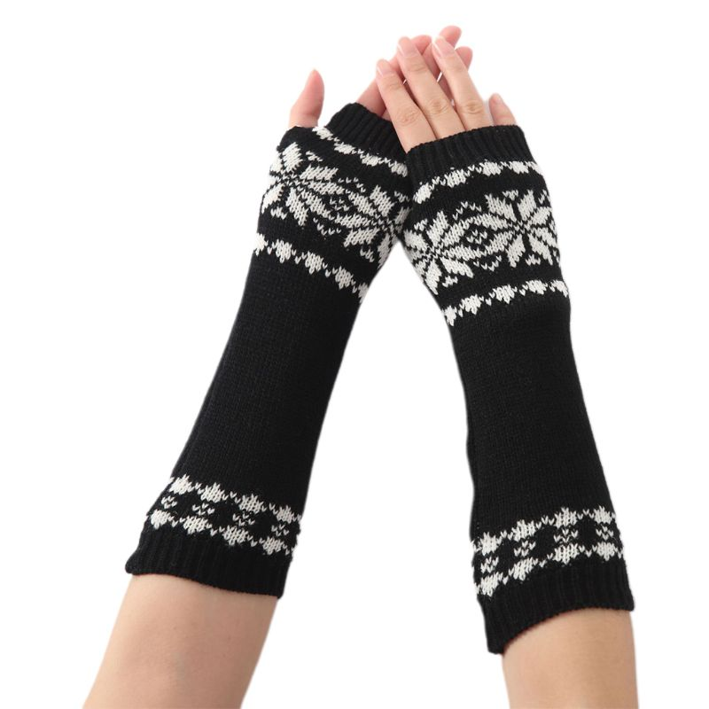 Unisex Snowflake Pattern Jacquard Fingerless Gloves 2019 Women Men Winter Crochet Knit Arm Warmers Mittens