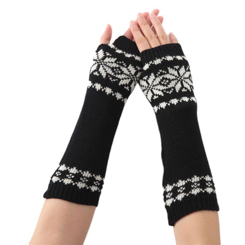 Unisex Snowflake Pattern Jacquard Fingerless Gloves 2019 Women Men Winter Crochet Knit Arm Warmers Mittens
