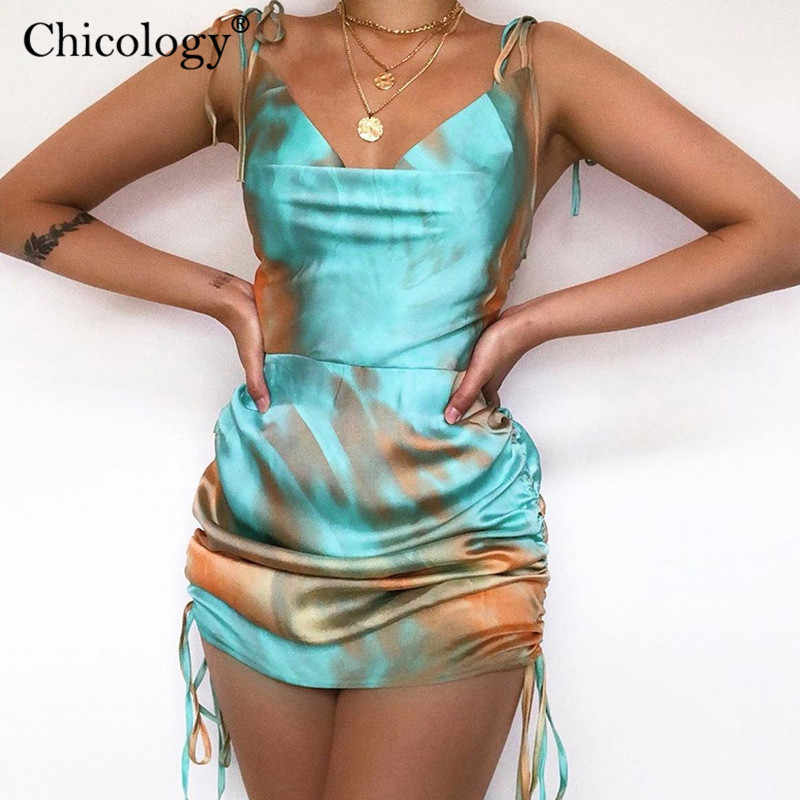 Chicology neon satin tie dye ärmellose spitze up mini kleid dünne strap sexy party outfit 2020 frauen sommer kleidung club casual