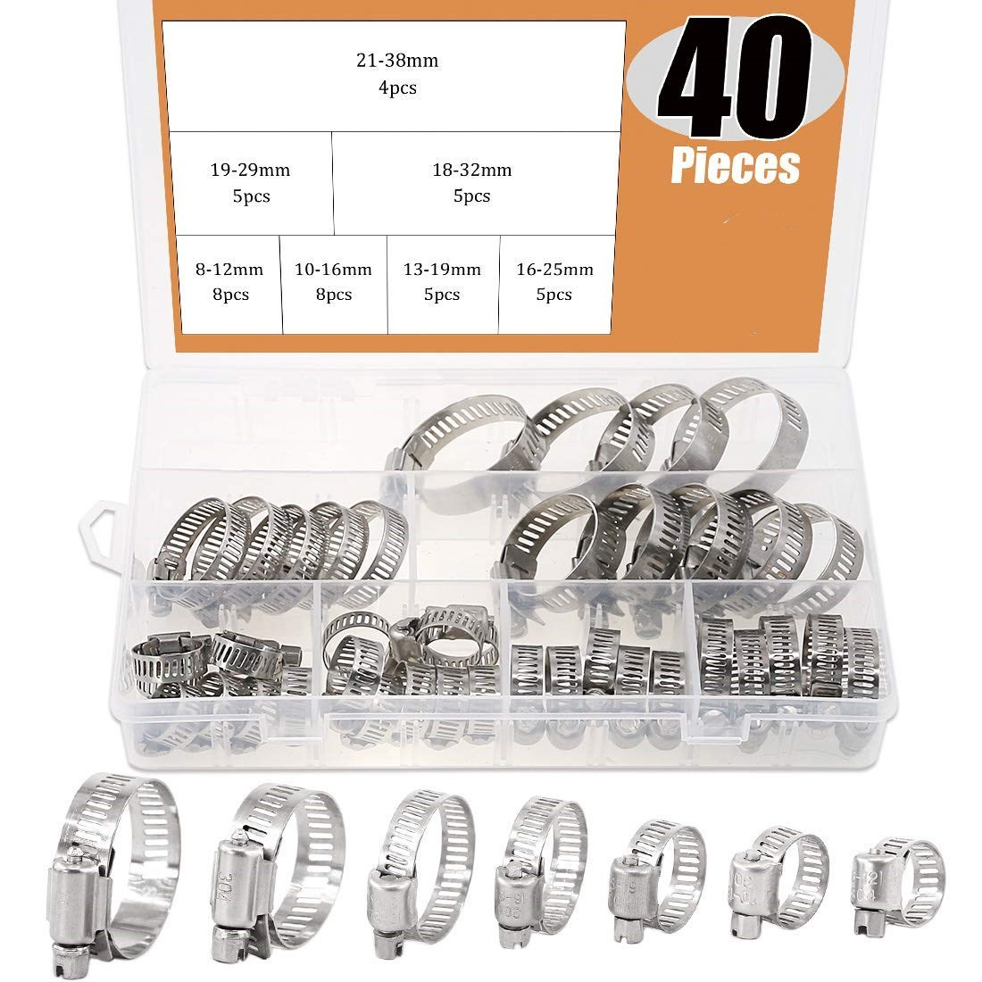 Hose Jubilee Clips Clamps Assortment Set Clip Kit Pack Assorted Sizes 26 Pc