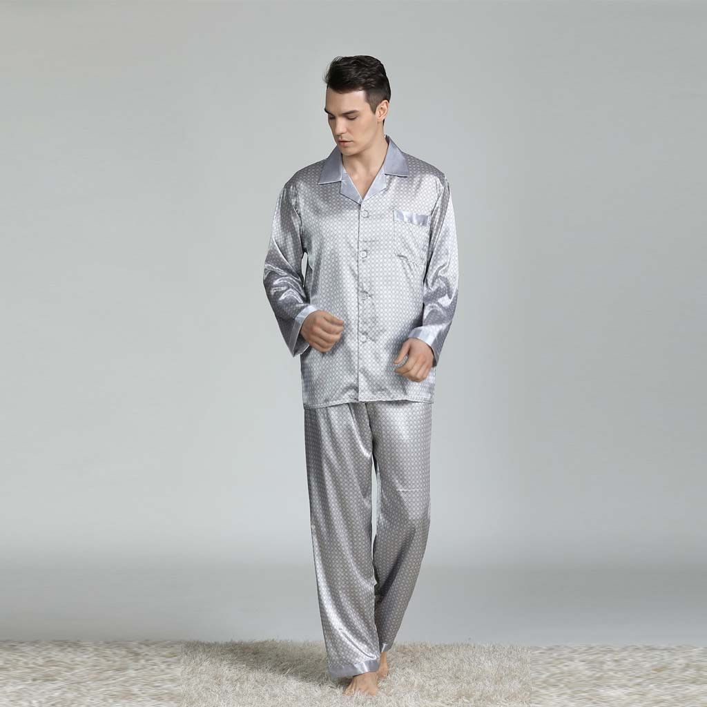 Men's Home Service Pajamas Suit New Long-sleeved Printed Foreign Trade Pyjama Men Full Sleepwear Spring Autumn Men Pyjamas