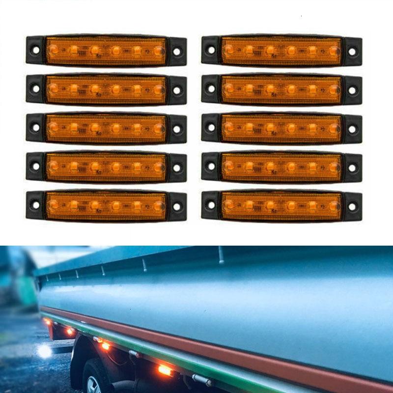 30 X ORANGE AMBER 12V 6 LED Side Marker Indicators Lights Truck Trailer Bus