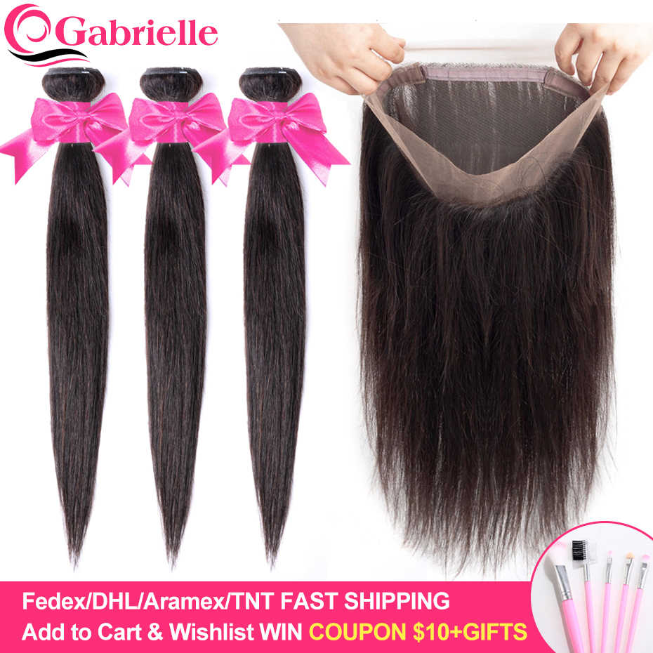 Gabrielle Brazilian Straight Hair Bundles with 360 Lace Frontal Natural Color Remy Human Hair Weave Bundles with Closure