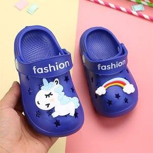 Image 4 - 유니콘 슬리퍼 소년 소녀 레인보우 신발 2019 여름 유아 동물 키즈 야외 아기 슬리퍼 PVC 만화 어린이 슬리퍼