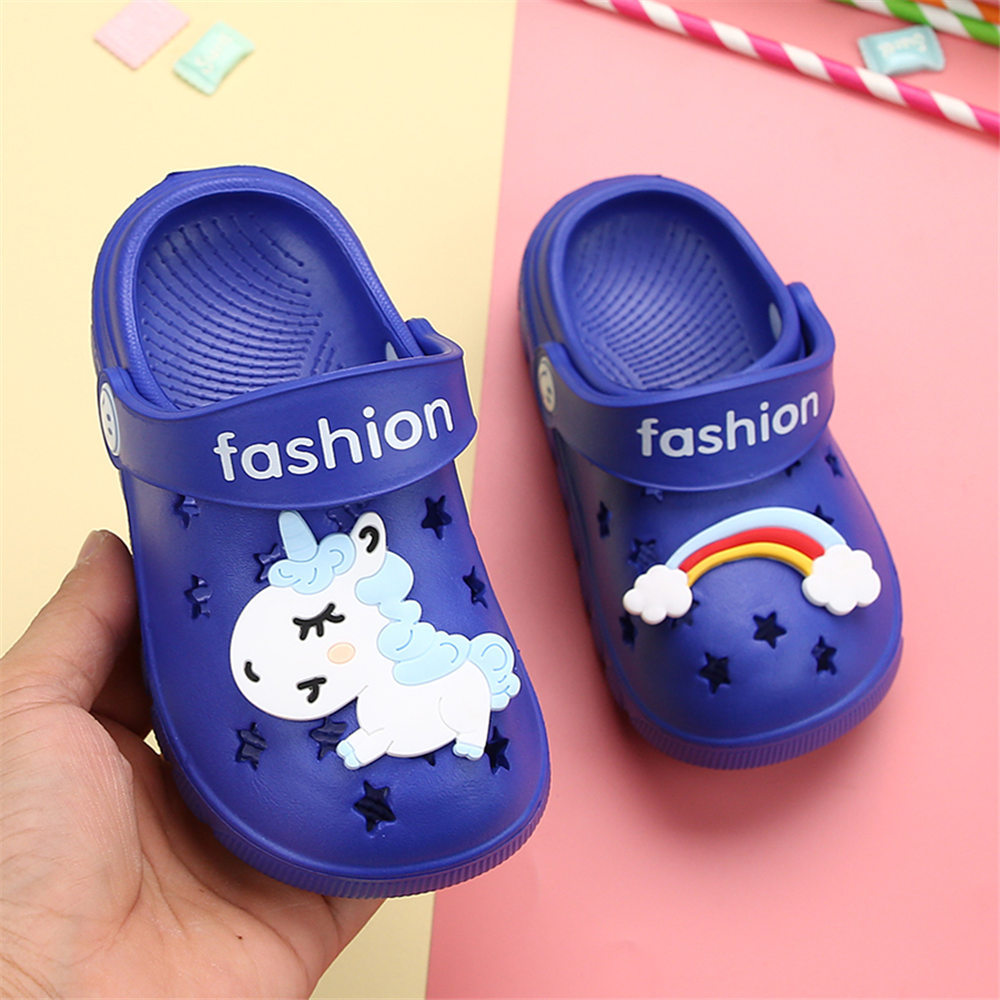 Image 4 - Unicorn Slippers for Boy Girl Rainbow Shoes 2019 Summer Toddler Animal Kids Outdoor Baby Slippers PVC Cartoon Kids SlippersSlippers   -