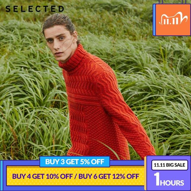 SELECTED Mens Winter High necked Pullover New Woolen Knitted Turtleneck Sweater Clothes L