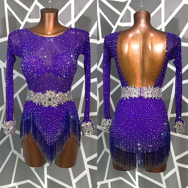 Violet Full Rhinestone Latin Dance Dress Beaded Tassel Stage Latin Dance Competition Dresses ChaCha Tango Rumba Dance Costume