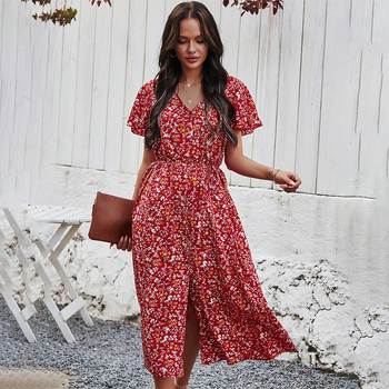 Women Summer Floral Print Front Split Dress 2021 Spring Casual V-Neck Short Sleeve Lace Up Holiday Ladies Button Up Long Dress retro floral print skater pin up dress