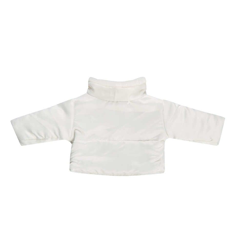 Ropa de muñeca 2 unids/set chaqueta blanca + traje de vaqueros negros apto para niñas de 18 pulgadas americanas y 43 Cm muñeca bebé recién nacido Logan niño generación
