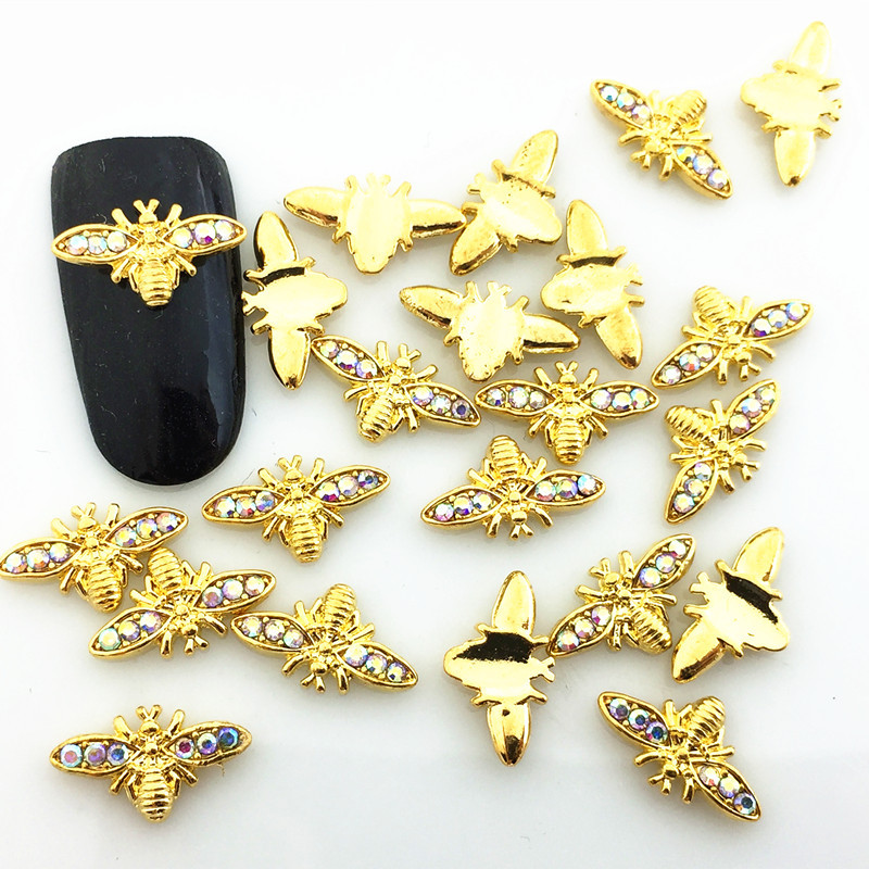 New Style Japanese-style Magazine Celebrity Style Alloy Symphony Man-made Diamond Small Bee Nail Ornament Metal Nail Sticker DIY