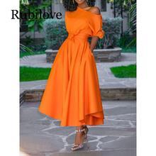 Rubilove 2019 Casual Long Dress Women Summer One Shoulder Sexy Fashion Street Robe Ladies Maxi Big Size Pocket Belt Elegant Part