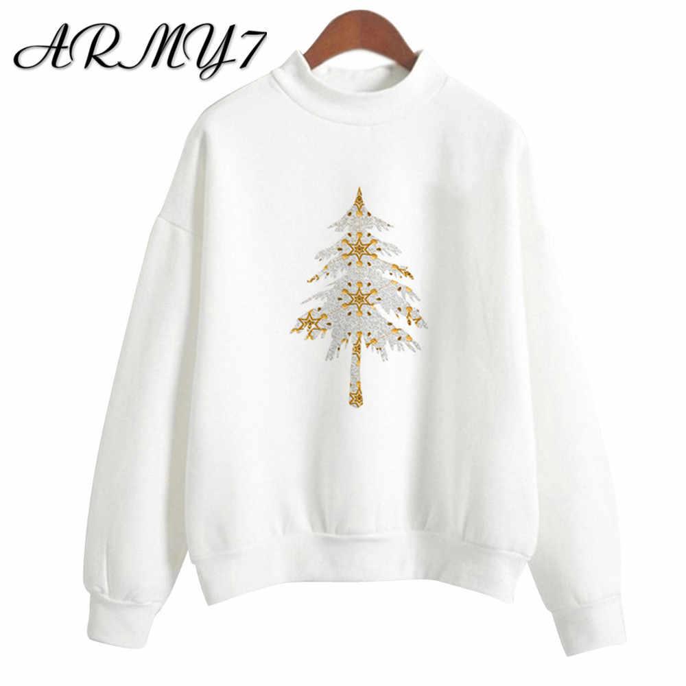 Lucu Natal Wanita Tanaman Sweatshirt Musim Gugur Musim Dingin Wanita Putih Kemeja Cetak Lengan Panjang Pullover Atasan Jersey Navidad Kpop Bangta