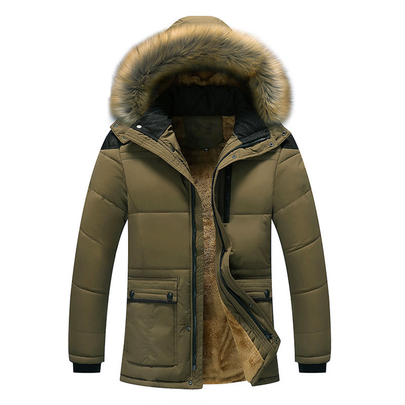 Quality Large Size Men Parkas Coat Plus Velvet Thicken Slim Zipper Winter Clothing Warm Detachable Fur Collar Mens Winter Jacket