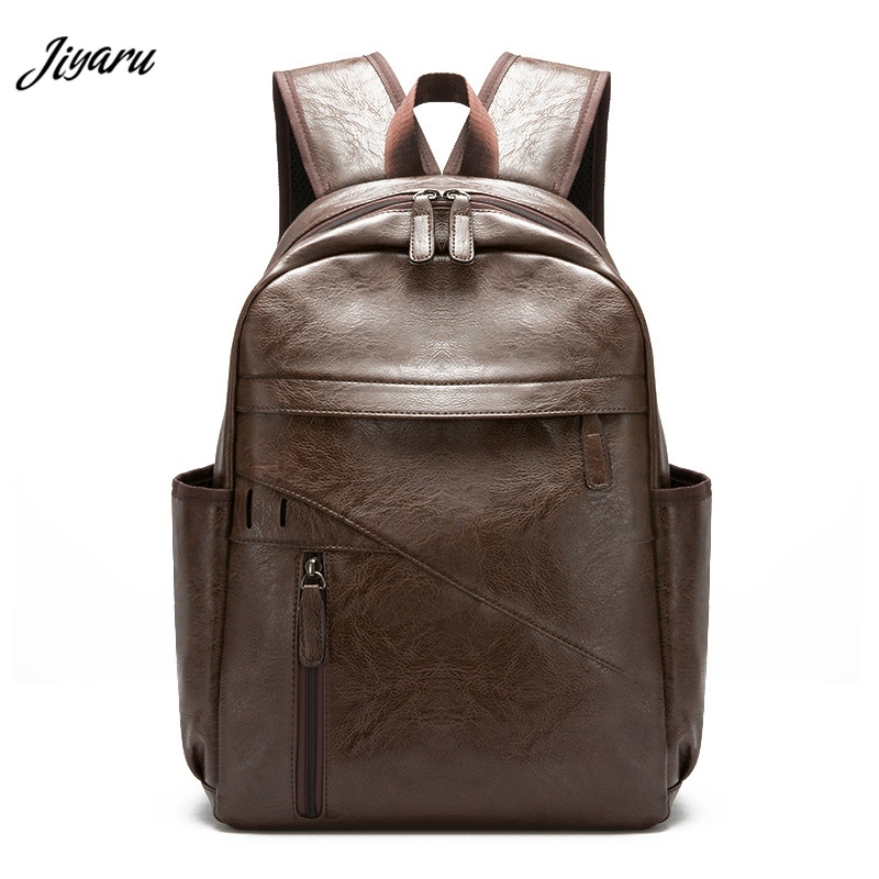 Jiyaru New Man Backpacks Faux Leather School Bags Large Business Backpacks Casual Male Backpacks Laptop Bags For Autumn Winter