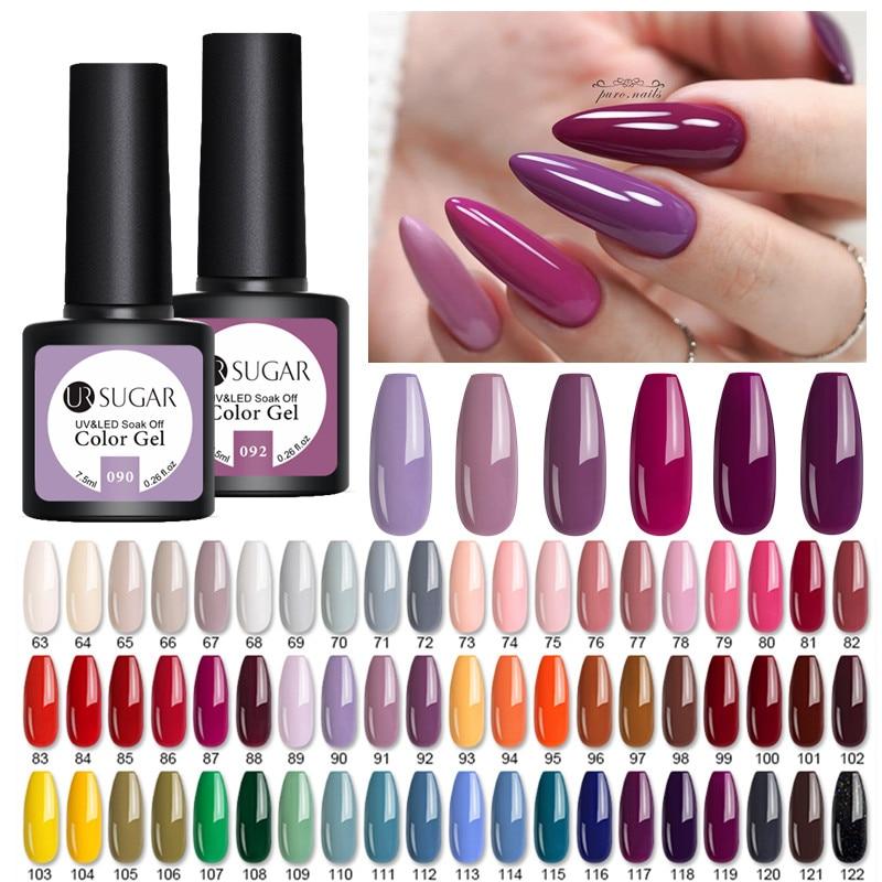 UR SUGAR 7.5ml Purple Pink Gel Nail Polish Matte Colors Semi Permanent Soak Off UV LED Gel Nails Varnish Nail Art  Varnish