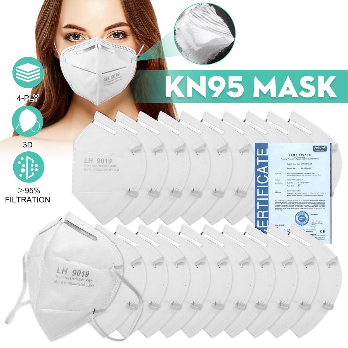 100PCS KN95 N95 FFP2 Mask PM2.5 Mouth Face Mask 95% Filtraion Cotton Mouth Masks Anti-Dust 4-layer Filtration Against Droplet