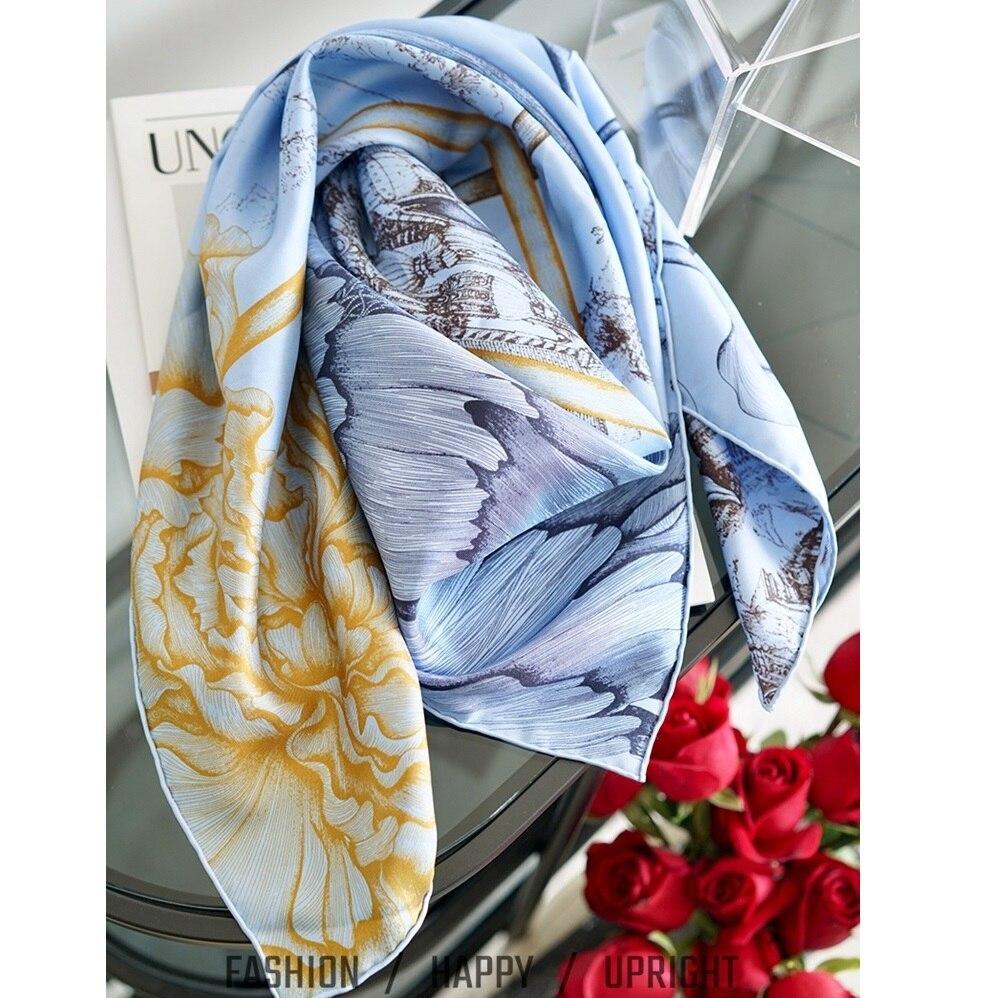 Rose Fantasy 100% Silk Scarf Shawl Fabulous Square Head Scarves Foulard For Women 35