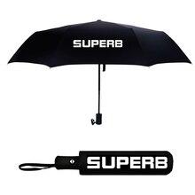 Automatic Umbrella Car Logo Umbrella Windproof Sunshade Folding Umbrella For SKODA SUPERB 3 MK3 2 MK2 SUPERB Logo Black