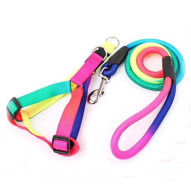 Batch Colorful Pet Traction Rope Nursing Nylon Rainbow-colored Dog Hand Holding Rope
