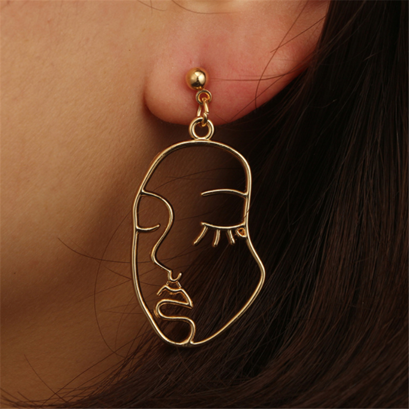Ailodo Face Earrings 2020 Women Punk Gold Abstract Human Face Earrings Unique Design Party Banquet Dangle Earrings 19NOV50