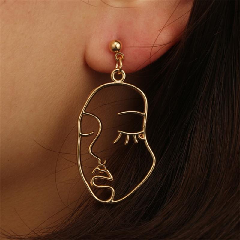 Ailodo Face Earrings 2020 Women Punk Gold Abstract Human Face Earrings Unique Design Party Banquet Dangle Earrings 19NOV50