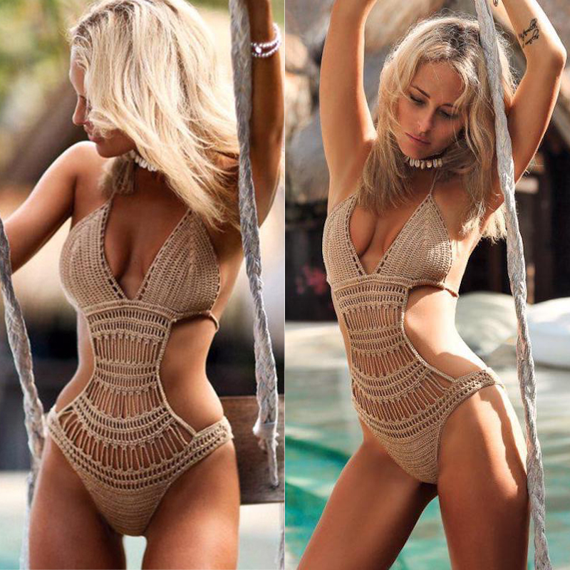 Crochet one piece backless sexy monokini high cut Jumpsuit Knitting Bikini Set Swimwear Swimsuit Beachwear