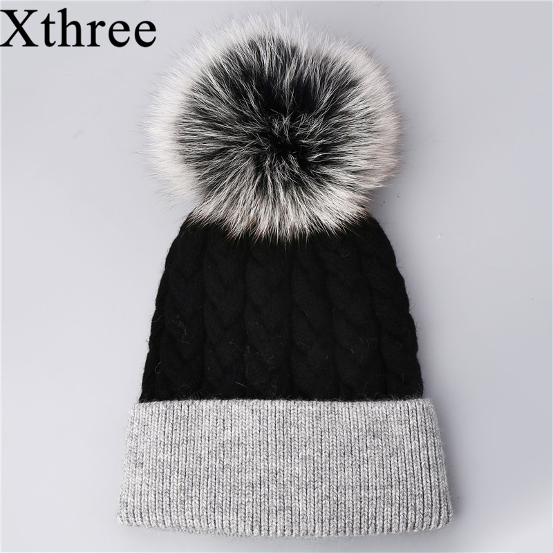Xthree Winter Wool Knitted Hat Beanies Cashmere Real Mink Fur Pom Poms Skullies Hat For Women Girls Hat Feminino