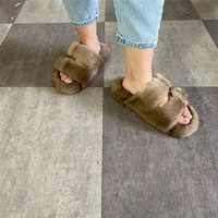 Genuine Mink Ladies Slippers The Word Overall Plush Slippers Outdoor Spring New Casual Herringbone Slippers Multicolor Optional