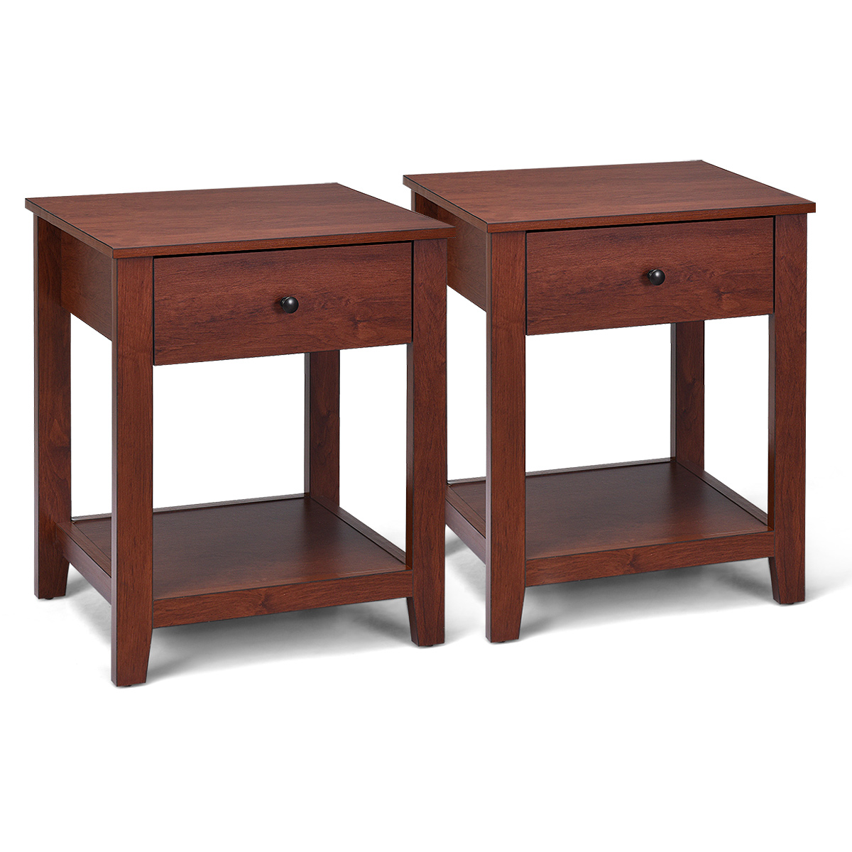 Costway Set Of 2 Night Stand End Side Table Bedside Sofa Accent Table W/Drawer And Shelf