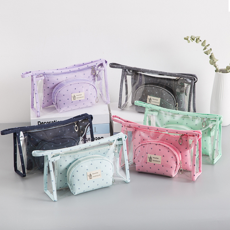 New Style Transparent PVC Dot Cosmetic Bag Korean Cute Large-Capacity Portable Three-Pieces One Set Makeup Bag Wholesale RH519 image
