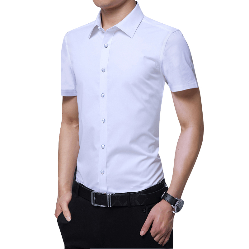 BROWON Men Summer Shirt Short Sleeve Solid Color Slim Fit Business Mens Shirts Casual Slim Fit Men Clothes 2020