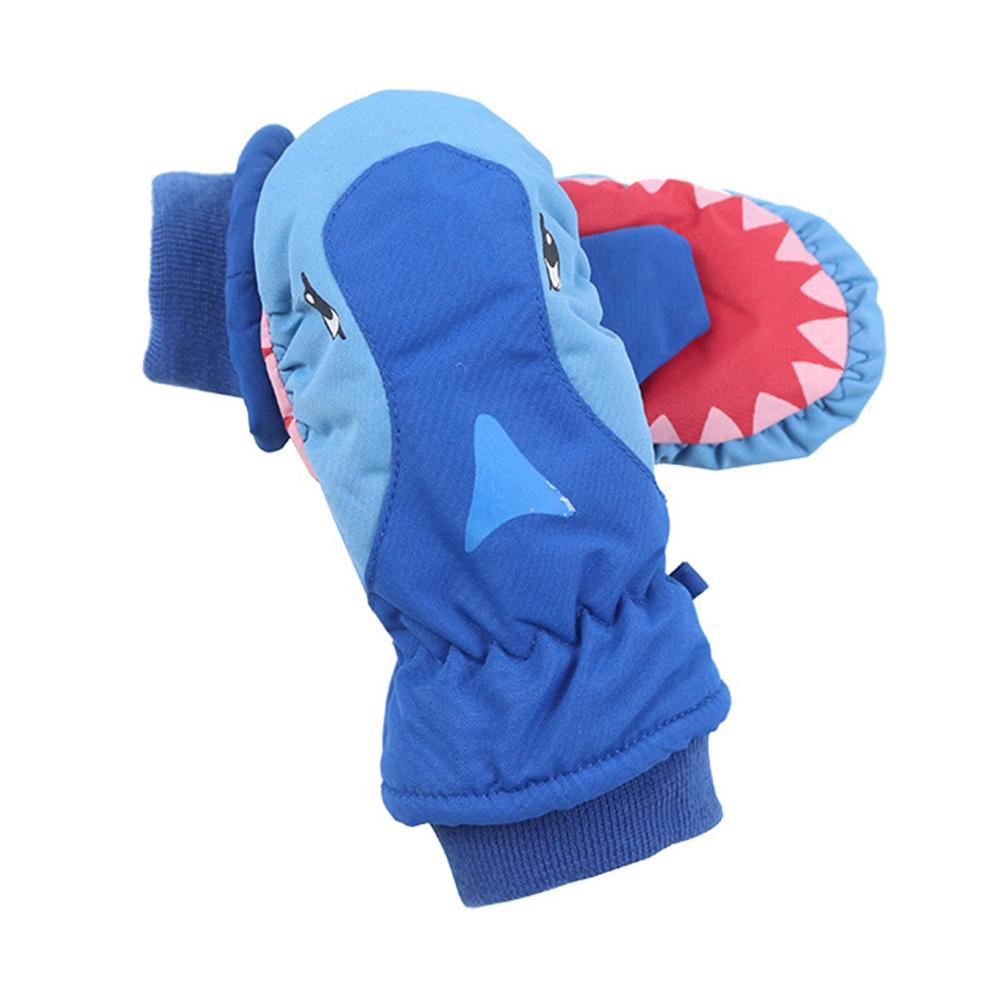 1Pair Winter Outdoor Boys Girls Cartoon Ski Waterproof Gloves Cute Children Non-slip Warm Windproof Mittens