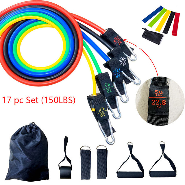 17pcs Resistance Bands Set Fitness Body Building Elastic Sports Band Training Expander Pull Rope Gym Fitness Equipment
