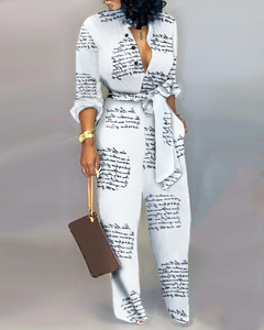 Romper kobiety dorywczo głęboki dekolt w serek Patchwork kombinezony z długim rękawem Streetwear luźny guzik spodnie pełnej długości kombinezony damskie