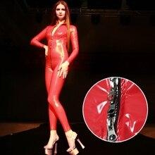 Women Sexy Latex Skinny Jumpsuit Zipper Open Crotch Nightclub Dance Overalls Custom Shiny Leather Ca