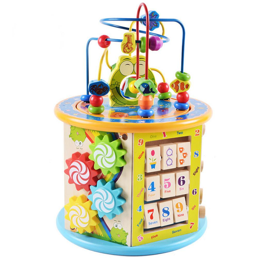 Multifunction Large Wooden Beaded Treasure Chest Puzzle Toy for Baby Kids