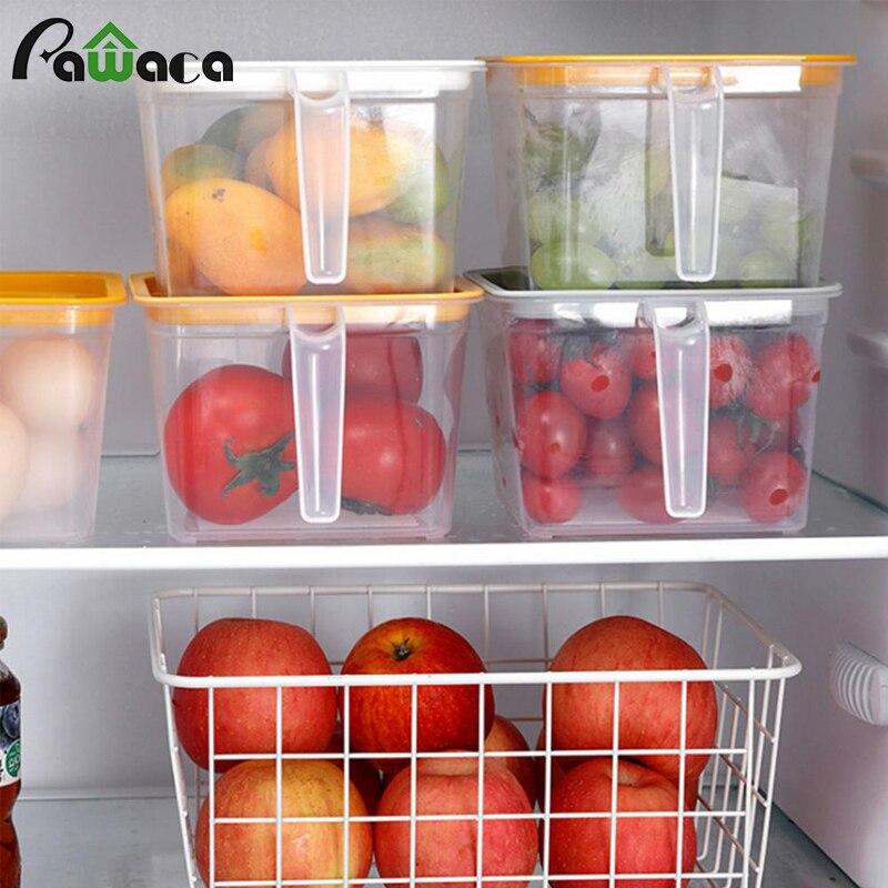 Réfrigérateur Organisateur Conteneur De Stockage De Nourriture avec la Poignée de Couvercle de Conservation Boîte Réfrigérateur Réutilisable de Stockage De Bac À Légumes pour la Cuisine