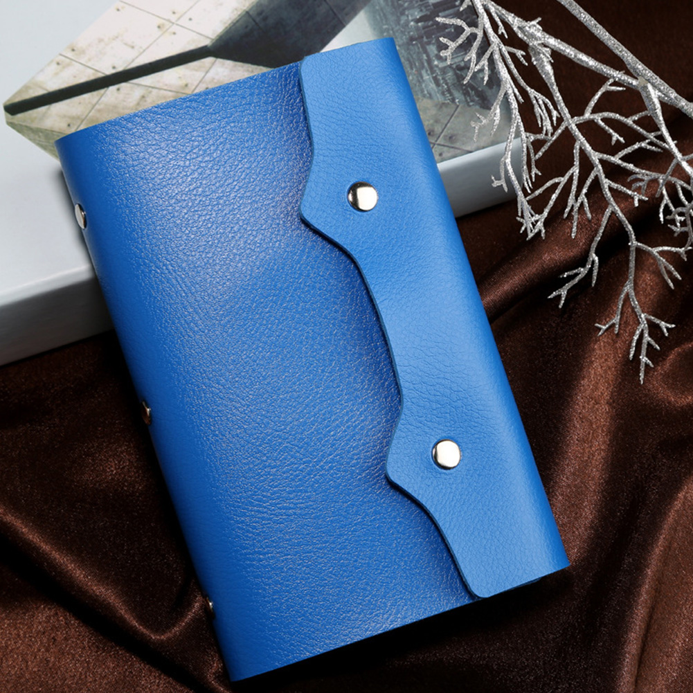 Portable Solid Color Mini 108 Slots PU Leather Storage Gifts Fashion Travel With Hasp Business Card Bag