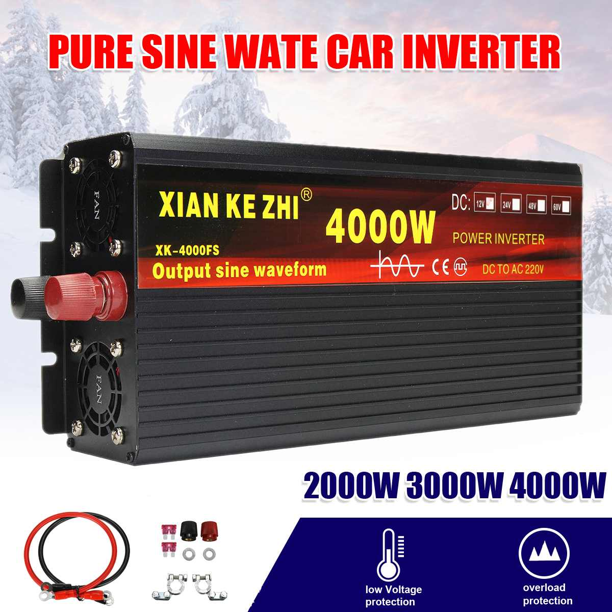 Auto Inverter 12V 220V 2000/3000/4000W Spannung transformator Reine Sinus Welle Power Inverter DC12V /24V zu 220V Konverter + 2 LED Displa