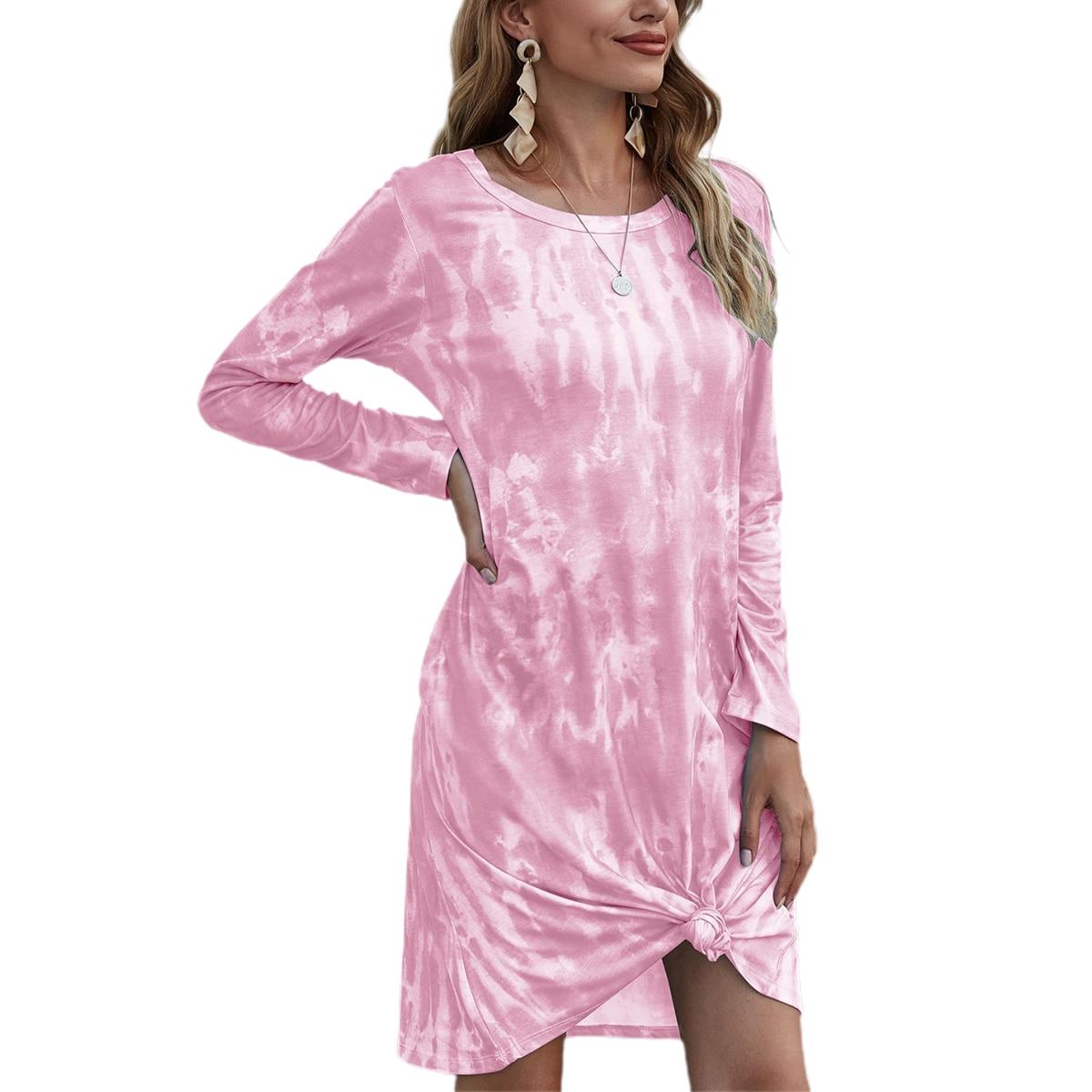 Women Dress Womens Tie-Dye Printing Dresses Round Neck Long Sleeve Dress Streetwear Womens Dresses Vestidos Mujer 2020 Clothes
