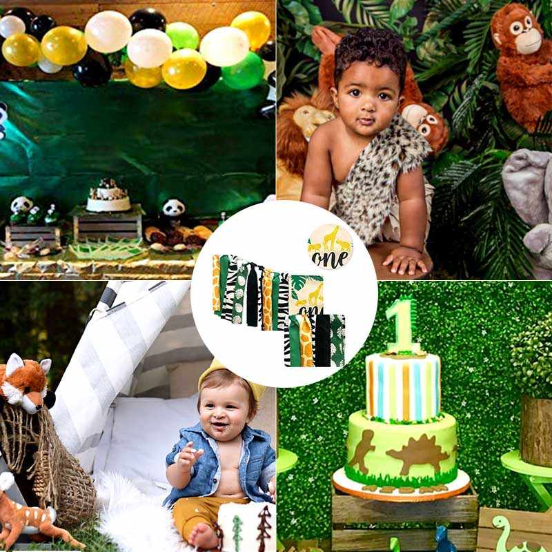 สัตว์ป่าชุด Highchair แบนเนอร์ตกแต่ง Crown อุปกรณ์สำหรับทารก 1st วันเกิด J99Store