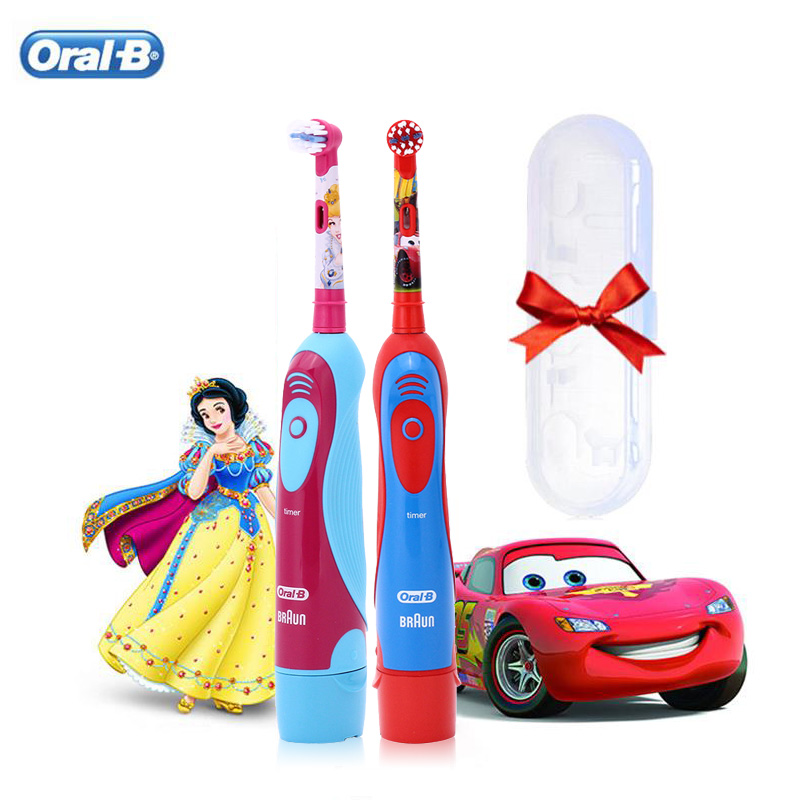 Oral B Electric Toothbrush for Children 2 Min Timer Soft Bristle 2D Rotating Clean Replaceable Head AA Battery Kid Tooth Brush image