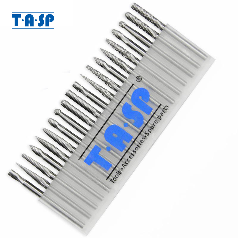 "TASP 20 pz 3mm Fresa in carburo di tungsteno Set 1/8 ""Punta per incisione Accessori per fresa rotante"