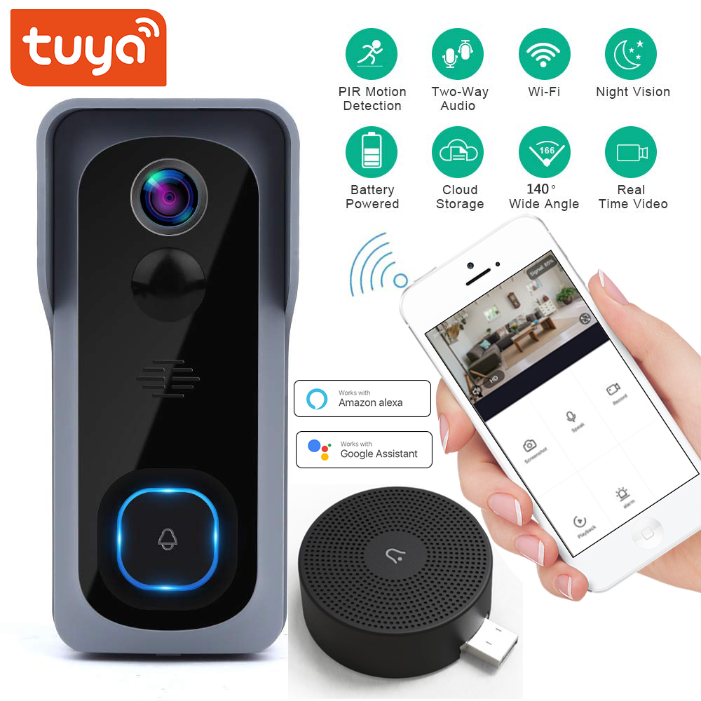 Tuya Wifi Smart Video Doorbell 1080P Support Google Home Amazon Alexa Chromecast Voice Control Smart Life Doorbell Cloud Camera